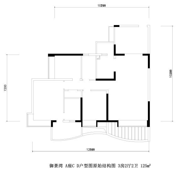 御景湾 A座C D户型图原始结构图 3房2厅2卫 125m²