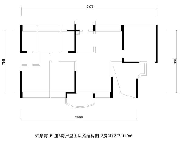 御景湾 B1座B房户型图原始结构图 3房2厅2卫 119m²