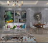 昌建誉峰86平两室两厅时尚现代装修样板间效果图——客餐厅全景布局