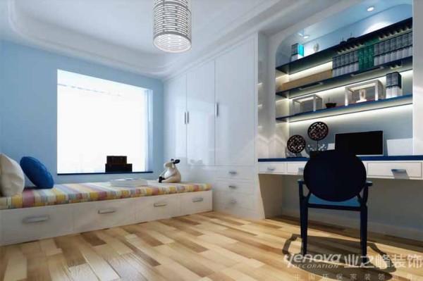 业之峰装饰设计师在考虑书房时,主要是色彩的运用,利用飘窗的位置设计为休息区域和床的多功能方式 。把空间很好运用。
