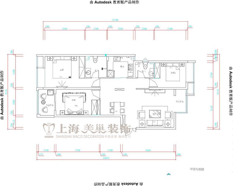 欧式 升龙城 装修 设计 家居 户型图图片来自曹素雅美巢装饰在升龙城三室135平简欧装修案例的分享