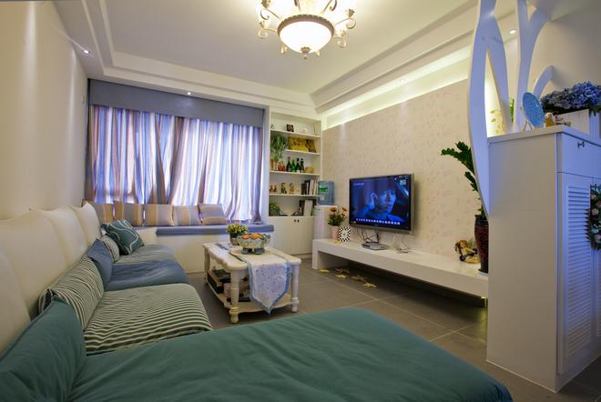二居 客厅图片来自四川岚庭装饰工程有限公司在70㎡唯美地中海,套二变套三的分享