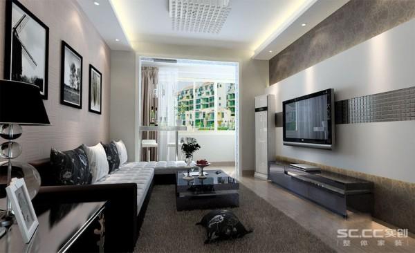 客厅设计: 客厅整体选用黑白色的主材,营造一种时尚,现代的气氛。电视背景墙以壁纸和石膏板造型加马赛克玻璃搭配,简单时尚。