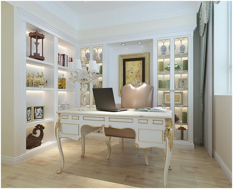 简欧 四居室 大气装修 实创 书房图片来自快乐彩在花样年华简欧风格装修效果图的分享