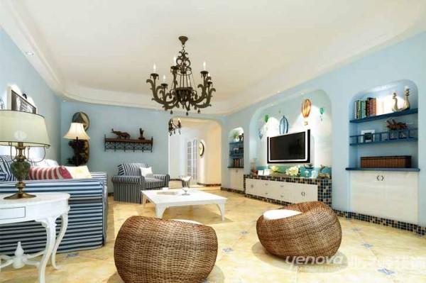 业之峰装饰设计师在考虑客厅区域时,主要运用蓝色的墙面涂料,蓝色条纹沙发,白色茶几等家个上的综合运用和完美的搭配。