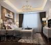 昌建誉峰86平两室两厅时尚现代装修样板间效果图——卧室全景效果图