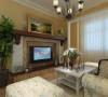 客厅是主人品味的象征,体现了主人品位与地位,也是交友娱乐的场合,墙面只做简单的处理,简单刷的乳胶漆,电视背景墙采用的是壁炉式的电视柜,顶面做的石膏线造型,地面铺的仿古的瓷砖。
