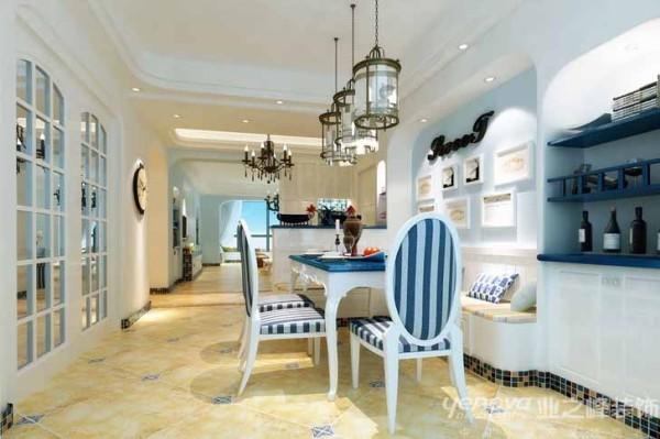 业之峰装饰设计师在考虑餐厅区域时,硬装造型都很简洁,主要通过蓝色的餐桌,蓝色+白色纹的餐椅,地中海的灯具,防古砖的整体运用的搭配。