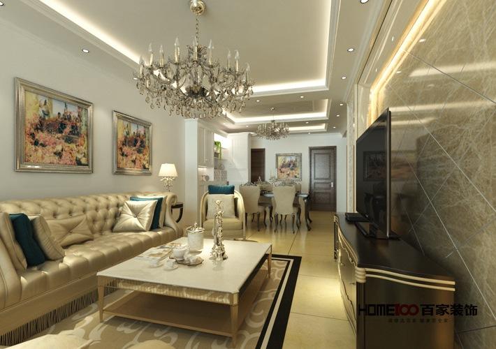 欧式 三居 白领 客厅 收纳 客厅图片来自百家装饰杨乐乐在越秀星汇蓝海117的分享