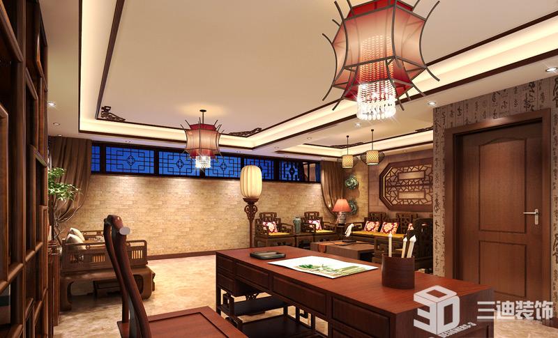 别墅 混搭 大户 书房图片来自三迪装饰在曦城别墅-舒适与意境的有机结合的分享
