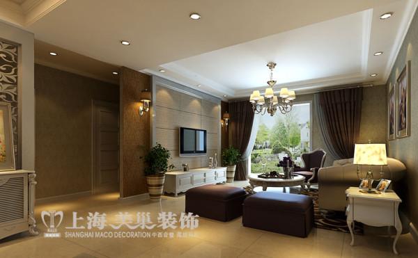 升龙城三室两厅135平简欧案例——客厅电视背景墙装饰效果图