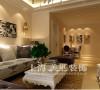 正商明钻89平两室两厅简欧装修样板间效果图案例——客餐厅全景效果图