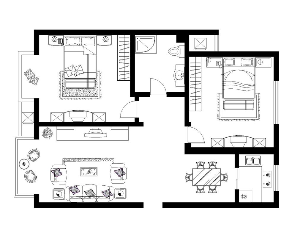 二居 白领 收纳 80后 小资 户型图图片来自实创装饰完美家装在孔雀城英国宫85平简中风格案例的分享