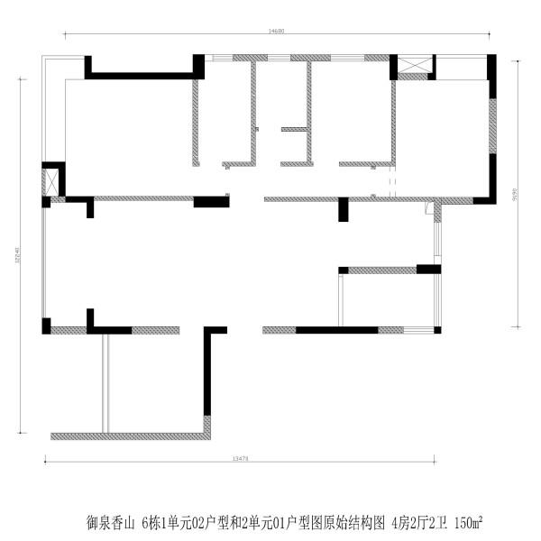 御泉香山 6栋1单元02户型和2单元01户型图原始结构图 4房2厅2卫 150m²
