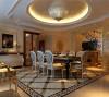 米黄色的墙面,白色的造型,金色的顶面,灰白色、栗色色调,搭配少许香槟金色的使用,在低调的单色世界里融合了奢华的气息。