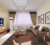 客厅墙面采用的是浅黄色的墙面漆,顶面一圈石膏线装饰,电视背景墙为黄色壁纸,沙发背景挂了三幅装饰画整体感觉简洁大方。