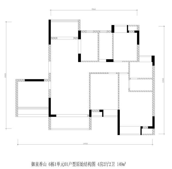 御泉香山 6栋1单元01户型原始结构图 4房2厅2卫 149m²
