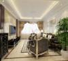 客厅电视背景墙采用护墙板与大理石搭配中间以木质柱体隔开,中间用上拉缝处理,美观大方。