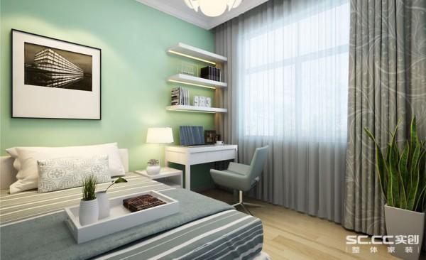儿童房设计: 本空间通过采用蓝白条纹和冷色系的窗帘勾勒出一个既活泼又调皮的空间。合理的利用空间,小小的书桌为空间增添了新的功能,粉绿色的墙面使房间更显活泼。
