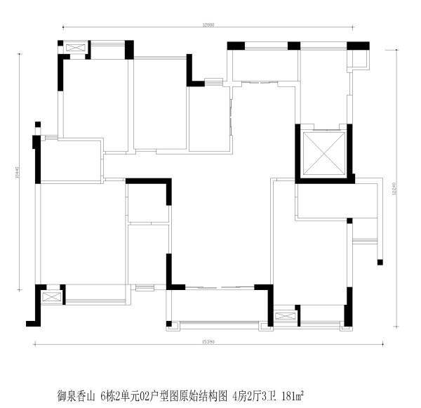 御泉香山 6栋2单元02户型图原始结构图 4房2厅3卫 181m²