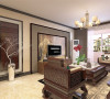 客厅的电视背景墙充分体现了新中式的特点。沙发背景墙并没有太多的造型,放了三幅中式的挂画简洁大方。沙发以及电视柜都是典型的新中式的家居显得大气典雅。