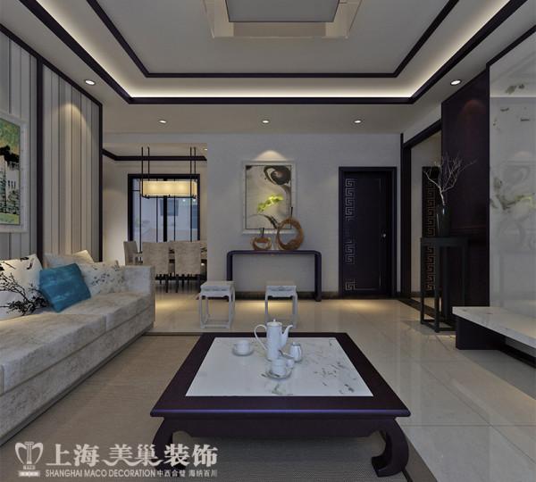 郑州锦艺国际华都三室两厅118平新中式装修案例效果图——客厅全景布局,业主是医生,个人收藏比较多需要有展示空间,喜欢中式元素