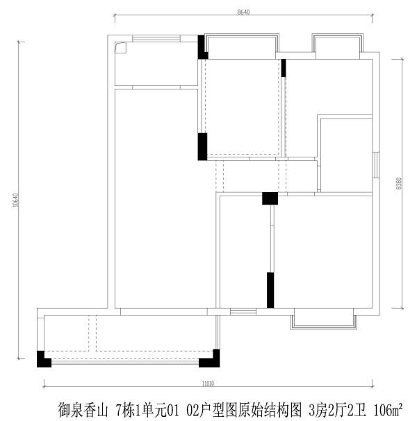 御泉香山 7栋1单元01 02户型图原始结构图 3房2厅2卫 106m²