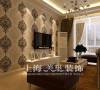 正商明钻89平两室两厅简欧装修样板间效果图案例——客厅电视背景墙效果图