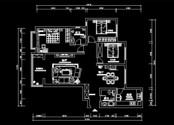 师大家属院148㎡平面布局图