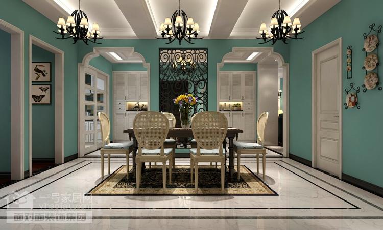 美地家园 美式风格 复式 一号家居网 餐厅图片来自武汉一号家居在美地家园220平复式美式风格设计的分享