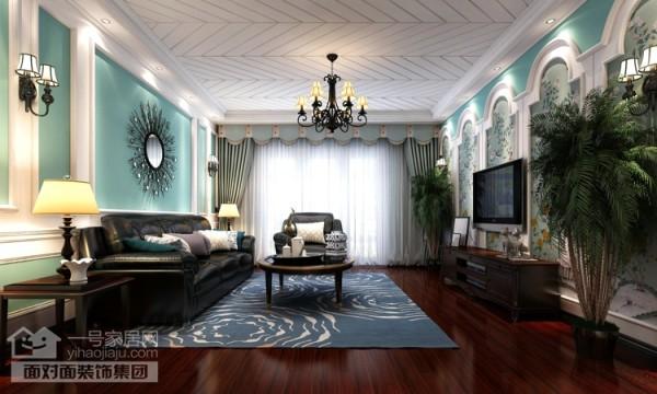 美地家园220平旧房改造客厅效果图