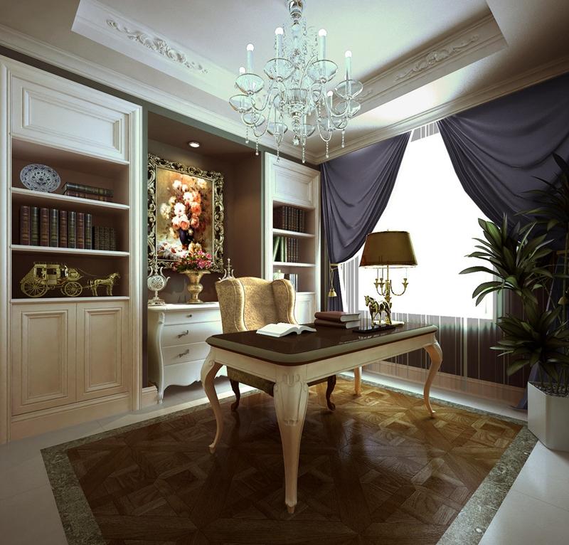 书房图片来自峰上大宅装饰长沙在第六都-法式风格的分享