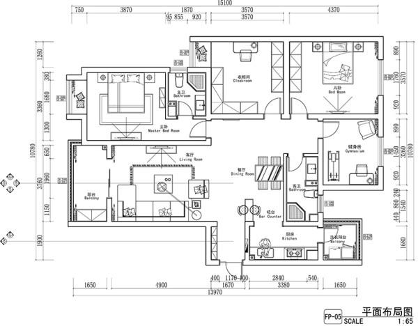 永威翡翠城150平方四室两厅平面设计方案
