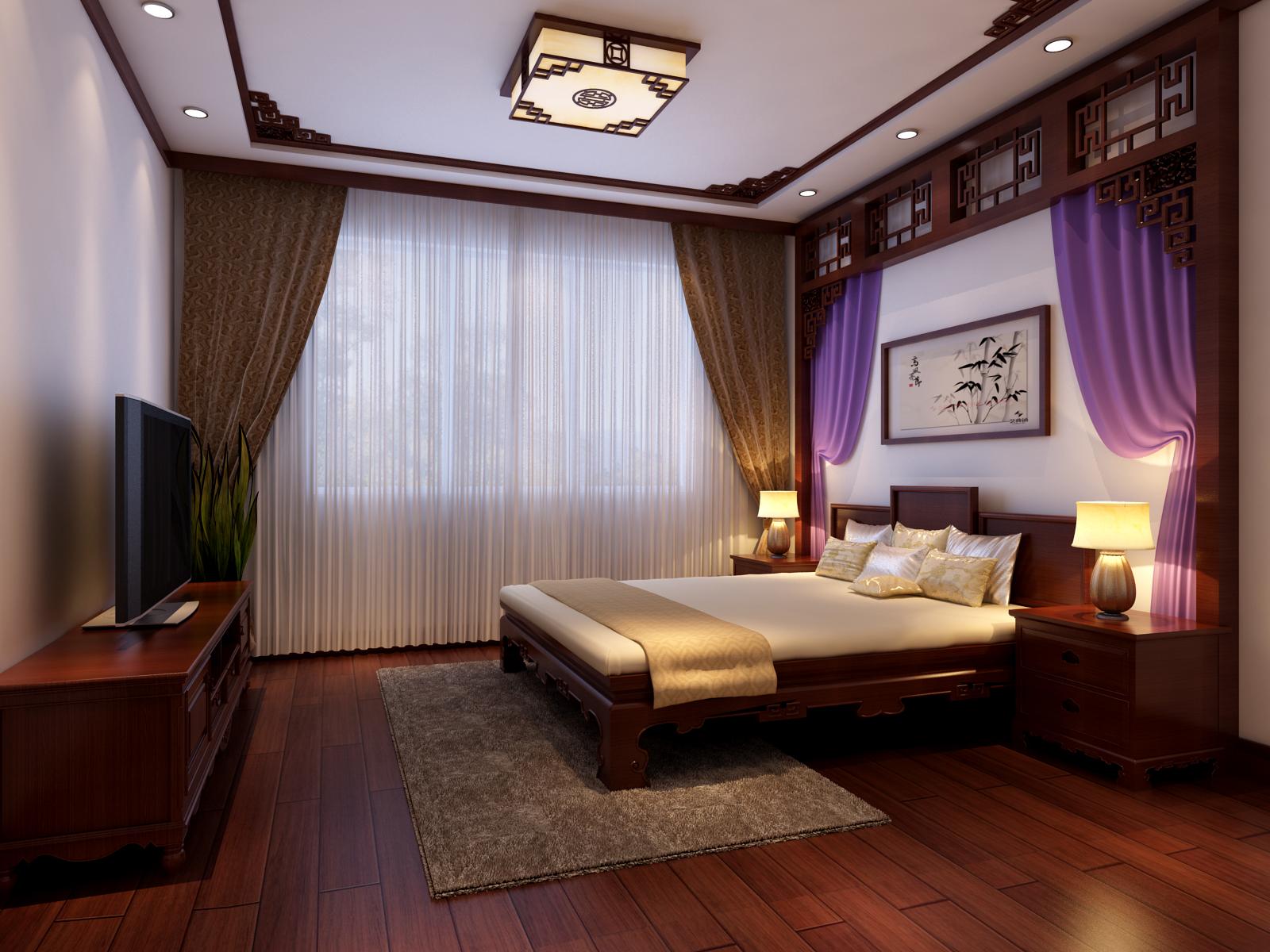 中式 三居 卧室图片来自实创装饰上海公司在三居室新中式风格装修设计的分享