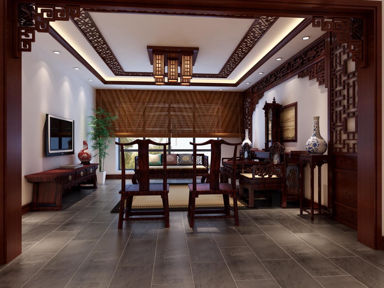 中式 三居 客厅图片来自实创装饰上海公司在三居室新中式风格装修设计的分享