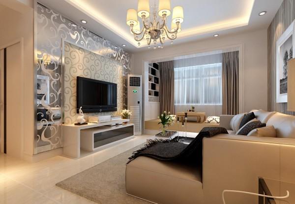 电视墙运用了花色玻璃满足了男主人对客厅的要求低调、时尚、大气,同时从视觉上增加了客厅的宽度。沙发采用的浅咖布艺沙发,自然舒适,经久耐用。