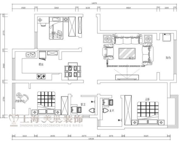 昌建誉峰128平方三室两厅装修户型图及平面布局方案