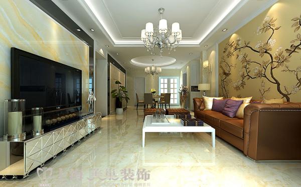 德润黄金海岸139平方三室两厅简欧风格装修效果图---客厅装修效果图