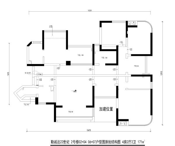 勤诚达22世纪 2号楼02+04 06+07户型图原始结构图 4房2厅2卫 171m²