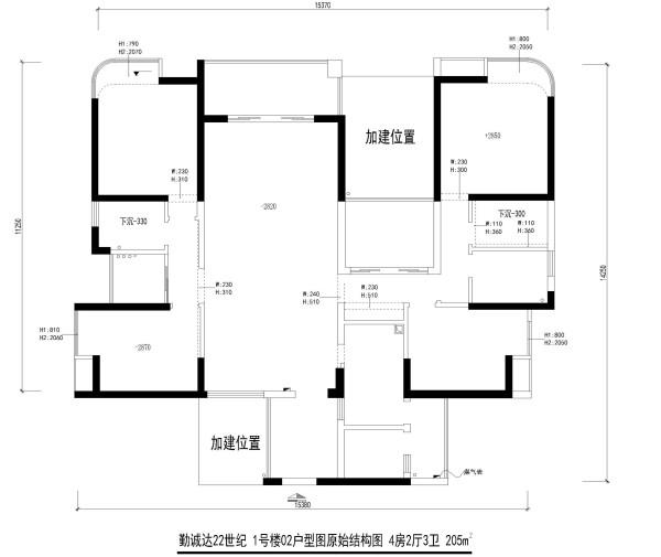 勤诚达22世纪 1号楼02户型图原始结构图 4房2厅3卫 205m²