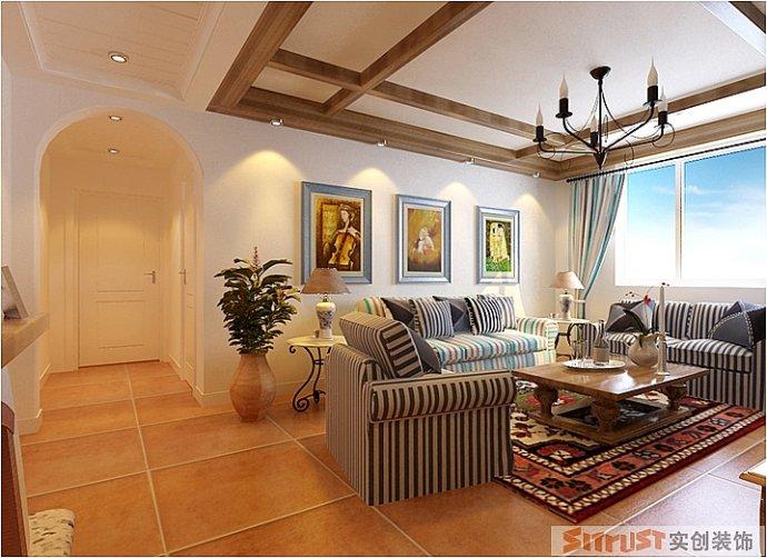 大观国际 地中海 三居 家装 整体 客厅图片来自郑州实创装饰啊静在大观国际地中海风格小三居的分享
