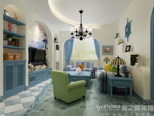 单身女客户努力奋斗完成自己的蓝色美梦。客厅地面弧形地砖铺贴,局部用马赛克做点缀,顶面流畅的弧形跌级吊顶与地面相呼应,让空间更加灵动。卧室及衣帽间都采用灰色作为基调,蓝色点亮整个空间。