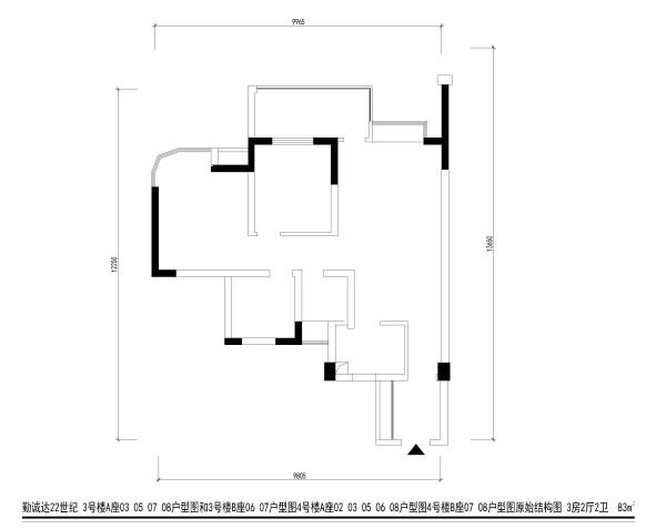 勤诚达22世纪 3号楼A座03 05 07 08户型图 3房2厅2卫  83m²