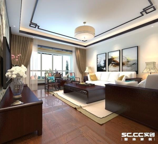 整个客厅以深色家具为主,深浅色作对比,整体简洁,尽显奢华,主人个性张扬,运用木材和壁纸,凸显客户品味和性格。吊顶做了灯槽,加了一些车边境,有增强空间感和奢华气息,符合了客户身份的要求。