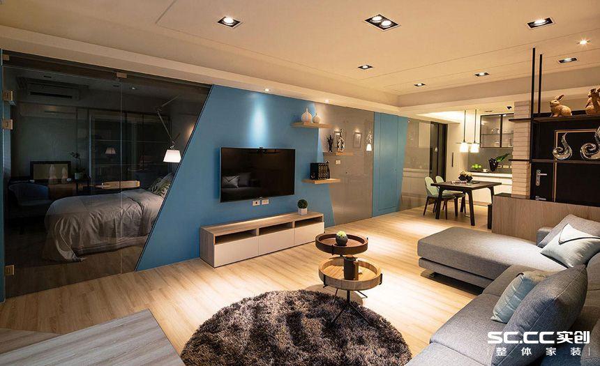 二居 现代 简约 客厅 卧室 厨房 餐厅 旧房 精装 客厅图片来自实创装饰晶晶在张杨路78平旧房改造简约而不简单的分享