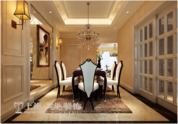郑州永威五月花城170平方四室两厅简欧风格装修效果图---餐厅装修案例设计