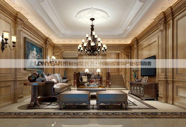 客厅作为待客区域,设计较其它空间要更明快光鲜,设计上使用大量的木饰面和护墙板装饰;以及多层书架以及壁炉。总体而言,美式风格的客厅是宽敞而富有历史气息的
