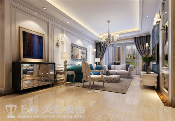 贰号城邦110平三室两厅法式风格装修效果图-沙发墙效果图