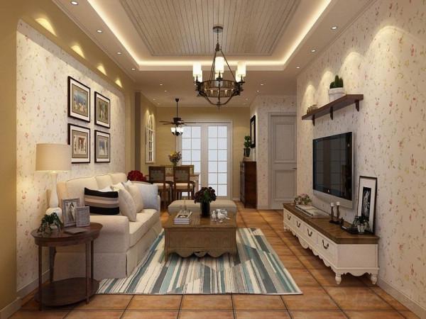 储物架,客厅、餐厅地面整体采用600*600的复古砖铺装,客餐厅墙面采用碎花壁纸和黄色乳胶漆,客厅吊顶运用了白色木地板进行装饰,给人一种临近自然的感觉。沙发背景墙用挂画装饰,简单、雅致。
