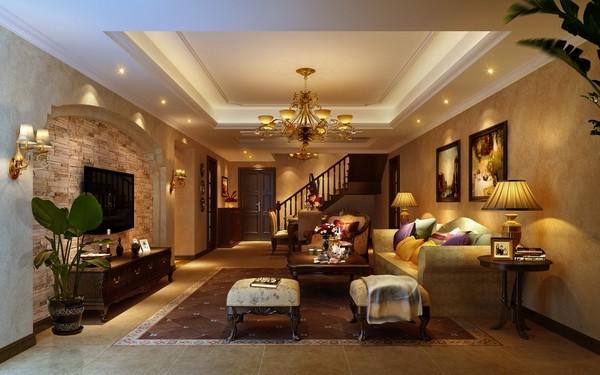 客厅采用仿古亚光砖 文化石电视墙 暖色调 都是设计与生活交融